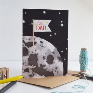 Number One Fathers Day Moon Card