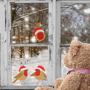 Set Of Three Festive Robins Window Stickers - wall stickers