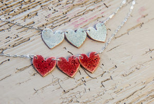 Reversible Enamel Hearts Necklace
