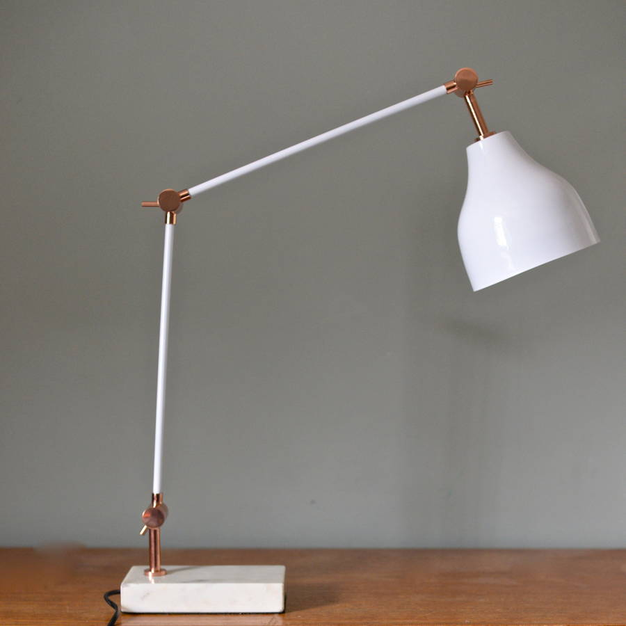 Copper Bedside Wall Lamps : stone and copper angled desk lamp by the forest & co notonthehighstreet.com