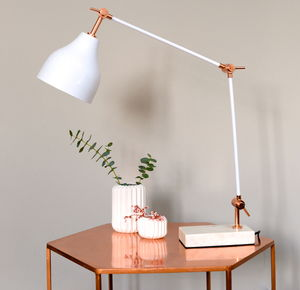 Stone And Copper Angled Desk Lamp - living room