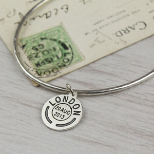 Personalised Place And Date Skinny Silver Bangle