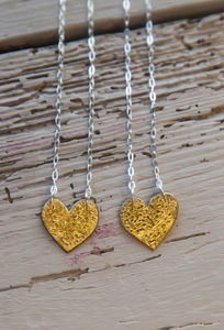 24ct Gold Leaf And Enamel Heart Necklace
