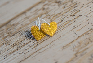 24ct Gold Leaf And Enamel Heart Earrings