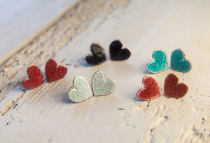 Enamel Heart Studs - earrings