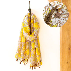Vintage Botanical Tassel Scarf - women's accessories