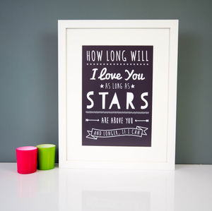 How Long Will I Love You Print