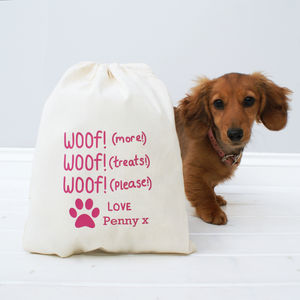 Personalised 'Woof Woof' Treat Bag - food, feeding & treats