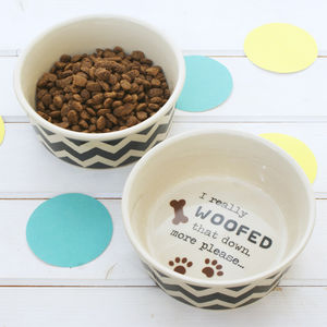 Chevron Dog Bowl - food, feeding & treats