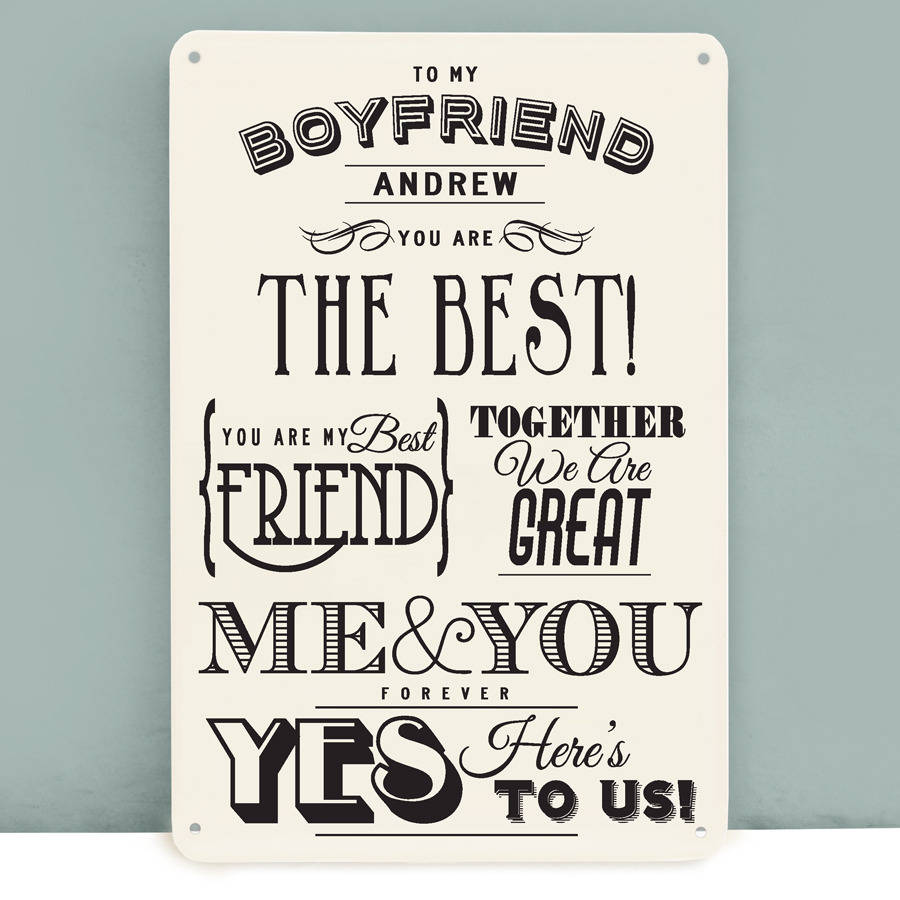 Personalised boyfriend metal print by delightful living for Boyfriend gifts for anniversary