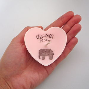 Personalised New Baby Unscented Heart Keepsake Candle - keepsakes