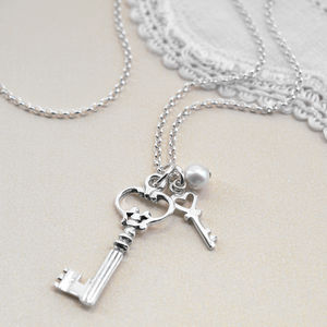 Sterling Silver Crown Key Necklace - charm jewellery