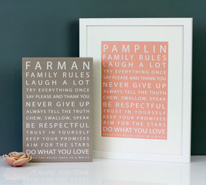 Personalised Family Rules Print - monochrome