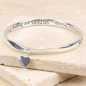 Personalised Meaningful Words 'Sisters' Charm Bangle - bracelets & bangles