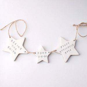 Personalised Christmas Ceramic Star Bunting - children's room accessories