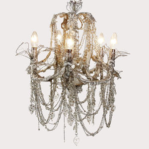 Five Arm Beaded Chandelier - bedroom