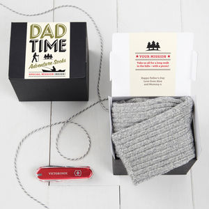 'Dad Time' Adventure Socks And Chocolate Gift Set - gifts from younger children