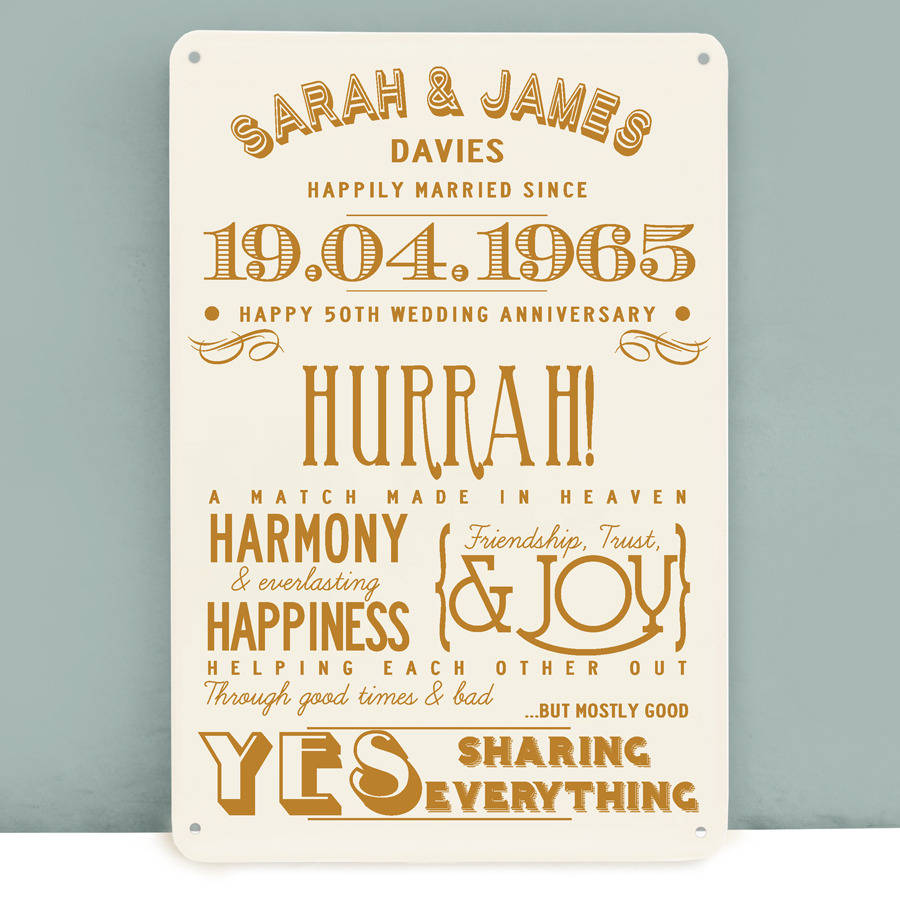 Ideas For Golden Wedding Anniversary Gifts: Personalised Golden Wedding Anniversary Metal Print By