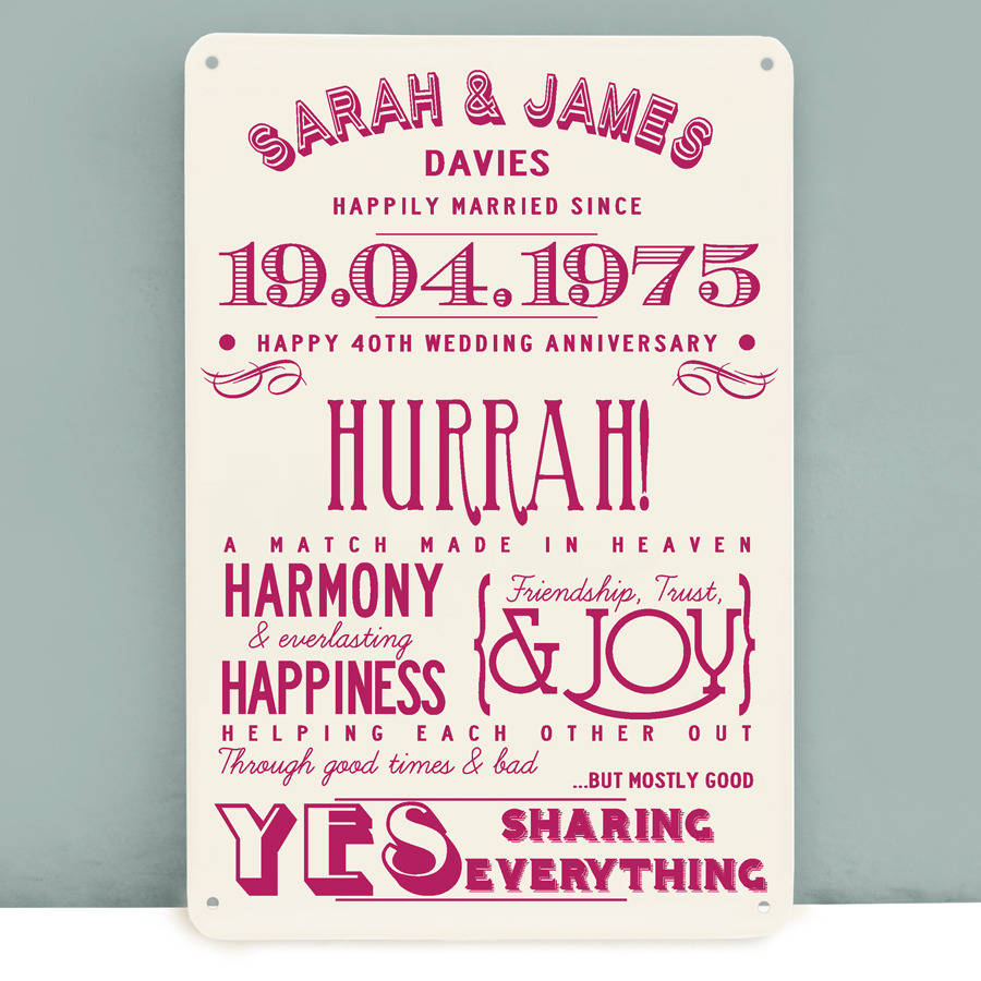 25th Wedding Anniversary Gifts For Parents Uk : wedding anniversary personalised print 40th wedding anniversary gift ...