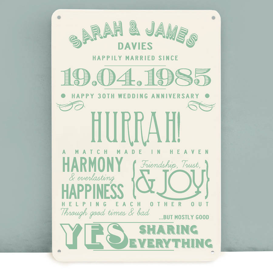 wedding anniversary personalised print 30th wedding anniversary gift ...
