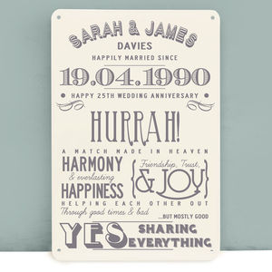 Personalised Silver Wedding Anniversary Metal Print