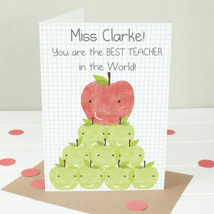 Personalised 'Best Teacher In The World' Luxury Card - thank you cards