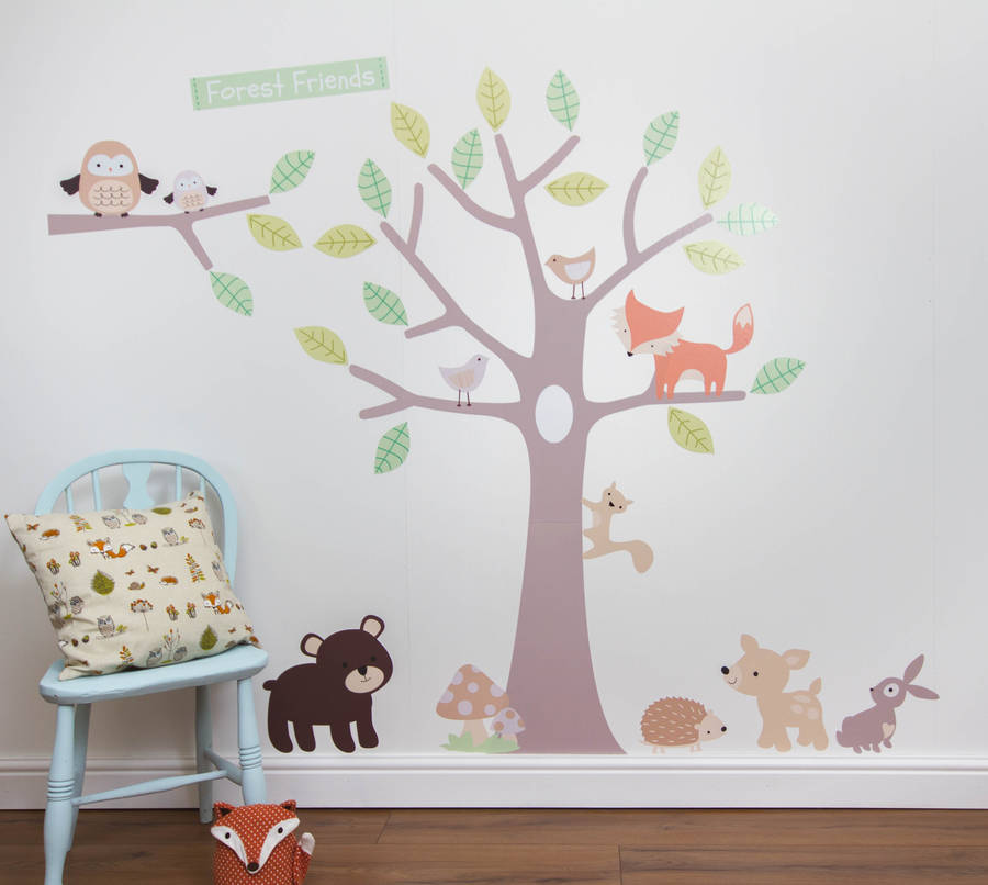 pastel forest friends wall stickers by parkins interiors birch tree wall decal forest with birds and deer vinyl