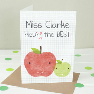 Personalised 'You're The Best!' Luxury Teacher Card - thank you cards