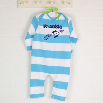 Personalised Organic Babygro Or Tshirt With Rocket