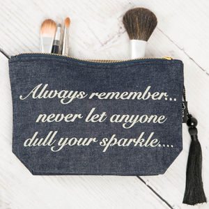 Denim Cosmetic Bag 'Never Let Anyone Dull Your Sparkle' - make-up bags