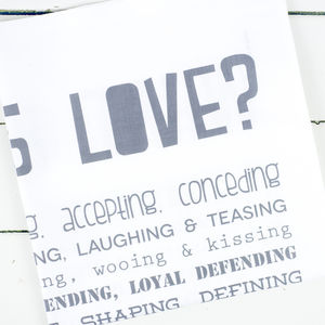 'What Is Love?' Poem Tea Towel
