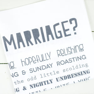 'What Is A Marriage?' Poem Tea Towel - kitchen linen