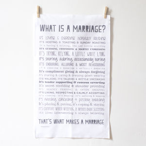 Marriage Tea Towel Anniversary Or Wedding Present