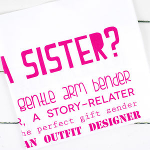 'What Is A Sister?' Poem Tea Towel