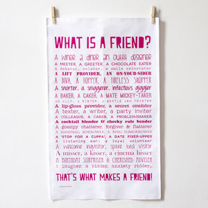 'What Is A Friend?' Poem Tea Towel