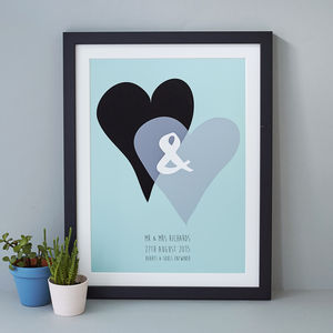 Hearts Personalised Wedding Print