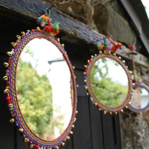 Set Of Three Bohemian Hanging Mirrors - living room