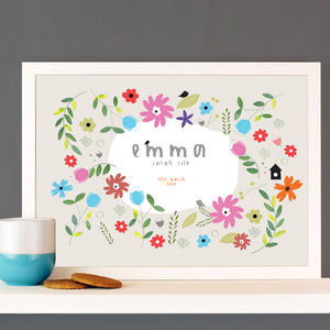 Personalised Name 'Flower Wreath' Print