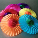 Six Paper Tissue Rainbow Fan Decorations