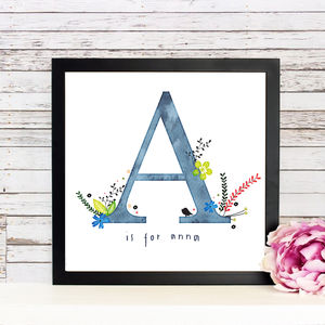 Personalised 'Flower Initial' Print