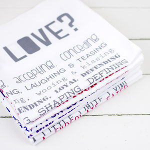 'What Is Love?' Poem Tea Towel - kitchen linen