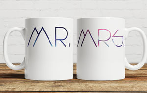 Galaxy 'Mr And Mrs' Personalised Mug