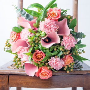 Peach Blossom Fresh Flowers Bouquet - fresh flowers