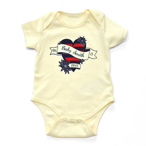 Personalised Heart Name Baby Bodysuit - t-shirts & tops