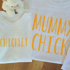 Personalised Mother, Daughter And Baby Chick T Shirts - personalised