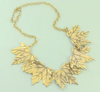 Statement Maple Leaves Necklace In Antique Gold