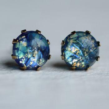 Peacock Opal Stud Earrings