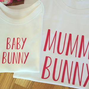 Personalised Mother, Daughter And Baby Bunny T Shirts - babies' mum & me sets