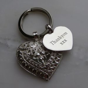 Silver Heart Key Ring - wedding thank you gifts