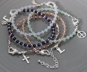Crystal Stacking Bracelets With Silver Charms - charm jewellery